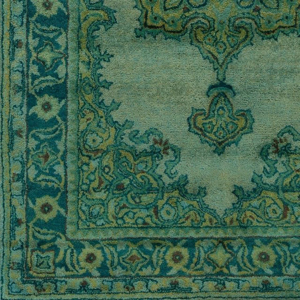 Overdyed Emerald Green Wool Rug