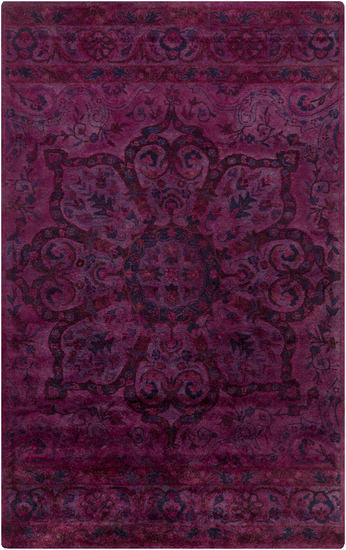 Antique Wash Overdyed Rug in Dark Purple, Burgundy, Bright Pink, Violet and Fuchsia - Yarn and Loom Rugs