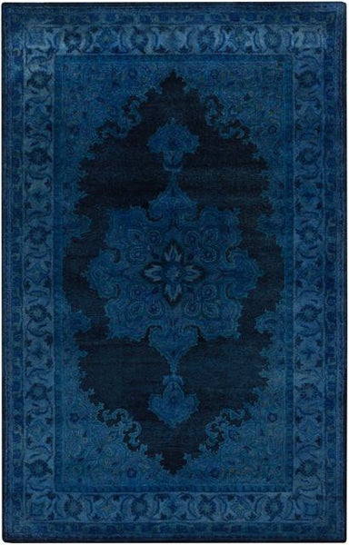 Antique Wash Overdyed Rug in Bright Blue, Navy and Teal - Yarn and Loom Rugs