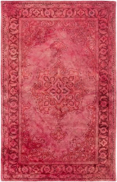 Antique Wash Overdyed Rug in Rose, Pale Pink and Garnet - Yarn and Loom Rugs