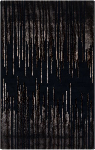 Frequency Rug in Black and Taupe - Yarn and Loom Rugs