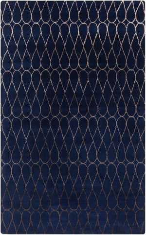 Infinity Rug in Navy Blue and Taupe - Yarn and Loom Rugs