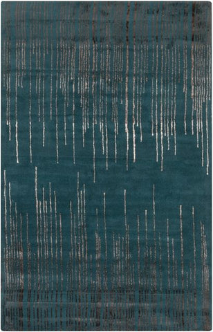 Frequency Rug in Deep Teal and Taupe - Yarn and Loom Rugs