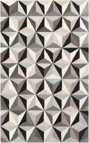 Facet Rug in Grey, Black, Beige and Taupe - Yarn and Loom Rugs