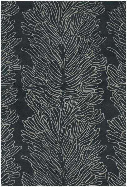 Coral Reef Rug in Charcoal Grey and White - Yarn and Loom Rugs