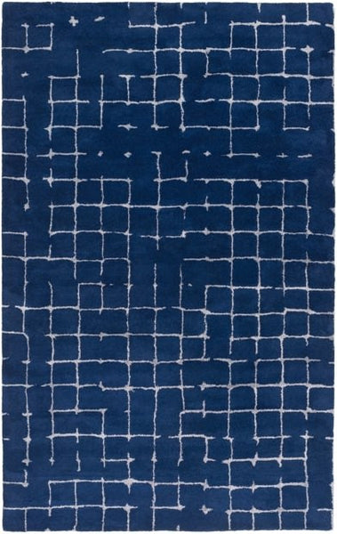 Verkko Rug in Navy Blue and Grey - Yarn and Loom Rugs
