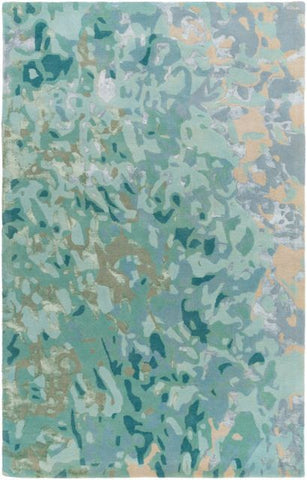 Aquarelle Rug in Teal, Ice Blue and Tan - Yarn and Loom Rugs