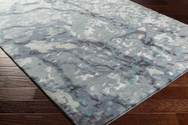 Aquarelle Slate Navy Blue And Teal Watercolour Wool Rug