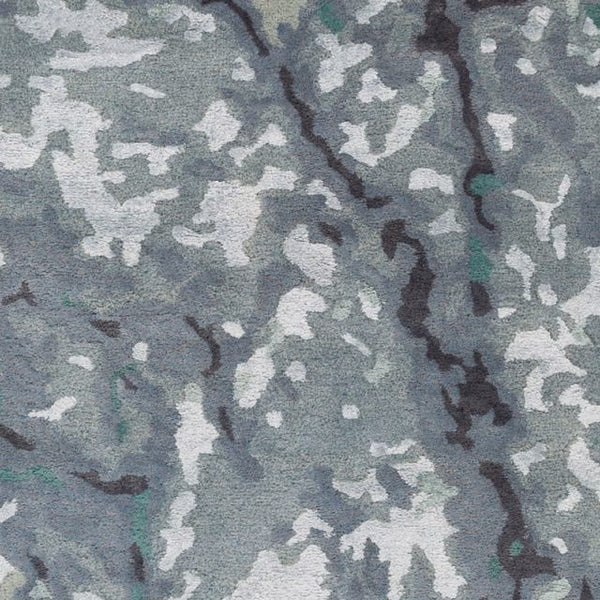 Aquarelle Slate, Navy Blue And Teal Watercolour Wool Rug