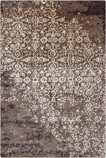 Erased Damask Rug in Taupe - Yarn and Loom Rugs