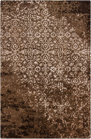 Erased Damask Rug in Chocolate Brown - Yarn and Loom Rugs