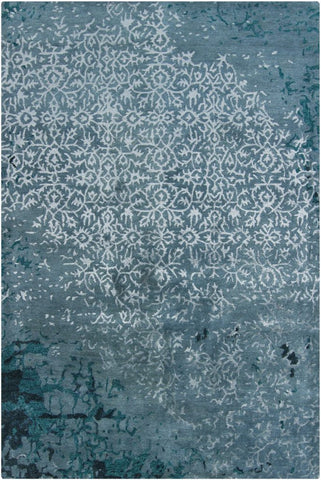 Erased Damask Rug in Green-Grey - Yarn and Loom Rugs