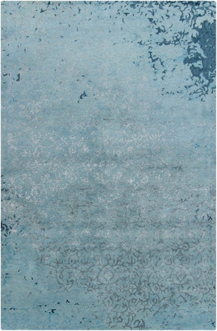 Erased Damask Rug in Light Blue and Silver Grey - Yarn and Loom Rugs