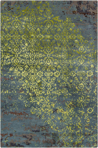 Erased Damask Rug in Lime Green and Grey - Yarn and Loom Rugs