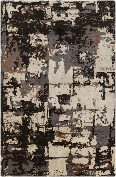 Abstract Rug in Dark Grey, Espresso Brown and Beige - Yarn and Loom Rugs