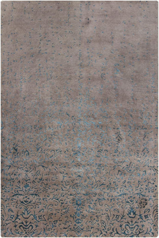 Faded Damask Rug in Taupe and Blue - Yarn and Loom Rugs