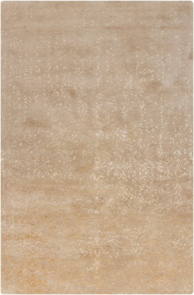 Faded Damask Rug in Beige - Yarn and Loom Rugs