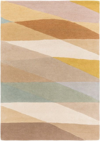 Pablo Rug in Gold, Sea Foam, Grey, Ivory, Tan and Beige - Yarn and Loom Rugs