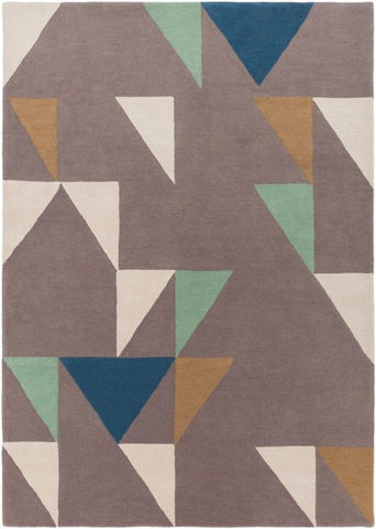 Axis Rug in Grey, Beige, Gold, Teal and Mint - Yarn and Loom Rugs