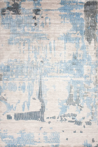 Abstract Printed Bamboo Silk Rug in Pearl Blue - Yarn and Loom Rugs