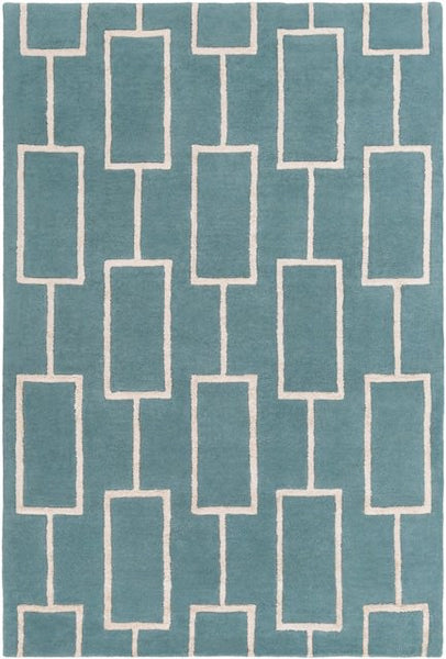 City Rug in Teal and Light Grey - Yarn and Loom Rugs