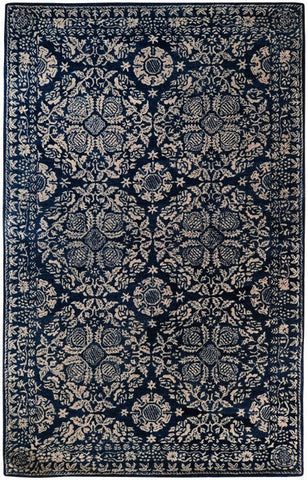 Medallion Rug in Dark Blue and Light Grey - Yarn and Loom Rugs