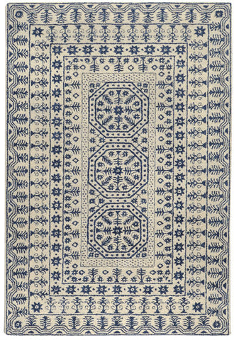 Medallion Rug in Navy Blue and Beige - Yarn and Loom Rugs