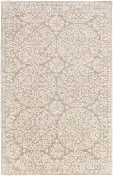 Medallion Rug in Beige and Medium Grey - Yarn and Loom Rugs