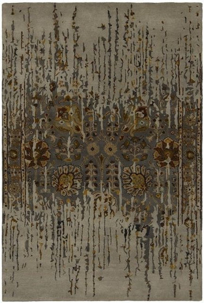 Erased Floral Rug in Grey - Yarn and Loom Rugs