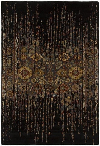 Erased Floral Rug in Black - Yarn and Loom Rugs