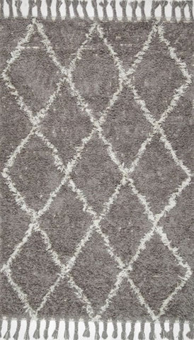 Taza Moroccan Shag Rug in Grey - Yarn and Loom Rugs