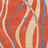 Pacaya Rug in Bright Orange, Aqua and Beige - Yarn and Loom Rugs