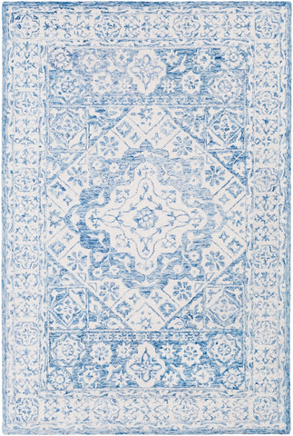 Suzanne Faded Medallion in Pale Blue and White - Front