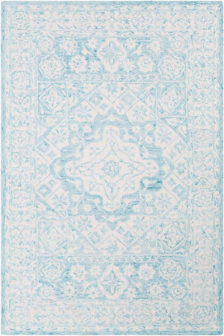 Suzanne Faded Medallion Rug in Aqua and White - Front