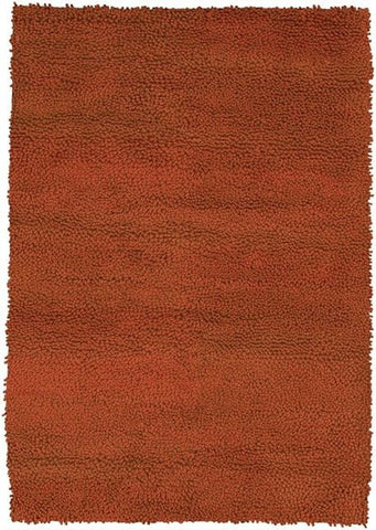 Modern Wool Shag Rug in Burnt Orange - Yarn and Loom Rugs