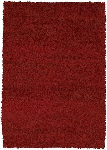 Modern Wool Shag Rug in Crimson Red - Yarn and Loom Rugs
