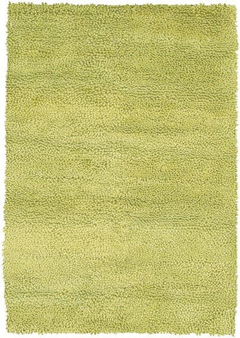 Modern Wool Shag Rug in Lime Green - Yarn and Loom Rugs