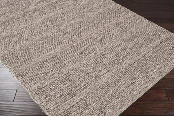 Chunky Cabin Textured Braided And Looped Taupe Solid Wool