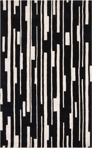 Tribeca Stripes Rug in Black and White - Yarn & Loom Rugs