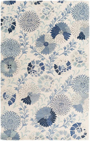 Vintage Floral Rug in Blue - Yarn and Loom Rugs