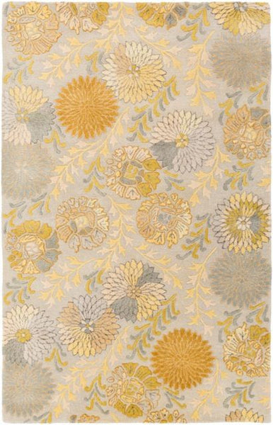 Vintage Floral Rug in Grey and Gold - Yarn and Loom Rugs