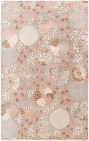 Vintage Floral Rug in Cream, Taupe, Apricot, Tan and Light Grey