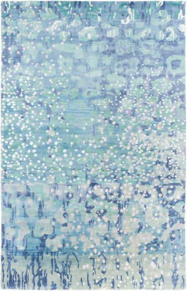 Hand Knotted Watercolour Rug in Seafoam Green and Sky Blue - Yarn and Loom Rugs