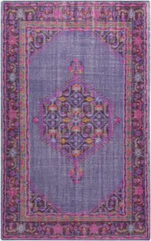 Milas Overdye Rug in Dark Purple, Fuchsia, Bright Red, Violet and Mustard - Yarn and Loom Rugs