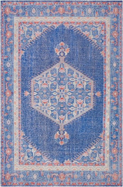 Milas Overdye Rug in Dark Blue, Red, Mauve, Camel, Khaki Green and Denim Blue - Yarn and Loom Rugs