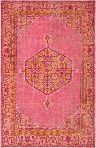 Milas Overdyed Rug in Bright Pink, Coral, Saffron, Terracotta and Bright Purple - Yarn and Loom Rugs