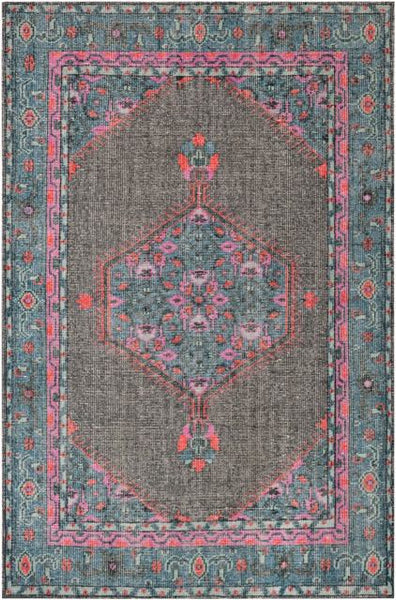 Milas Overdyed Rug in Charcoal, Teal, Bright Pink, Aqua, Coral and Emerald - Yarn and Loom Rugs
