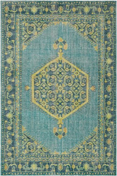 Milas Overdyed Rug in Emerald, Lime, Olive and Aqua - Yarn and Loom Rugs
