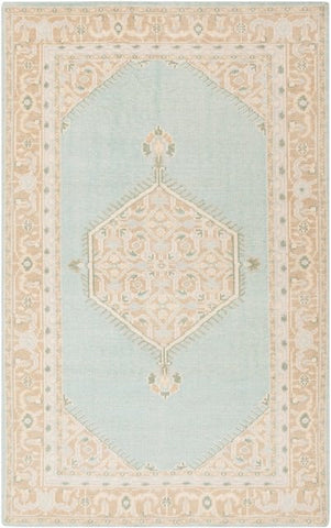 Milas Overdyed Rug in Mint Green and Cream - Yarn and Loom Rugs