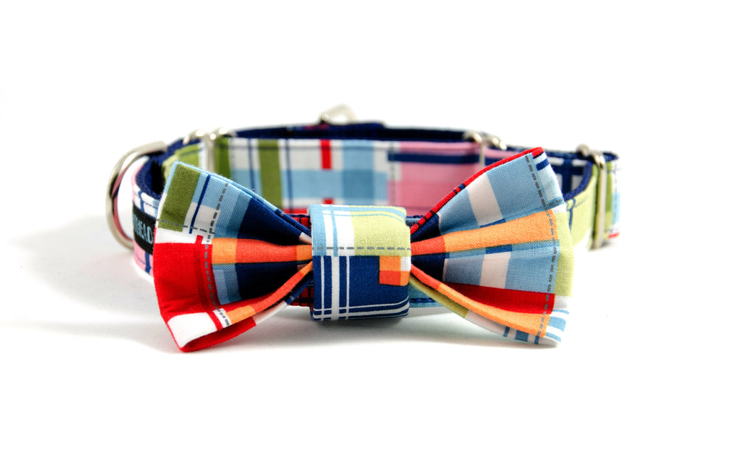 Martingale dog collar and bow tie set: Captain, a summery madras plaid